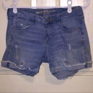 "Arizona Jean Co. Distressed jean shorts 4"" inseam"